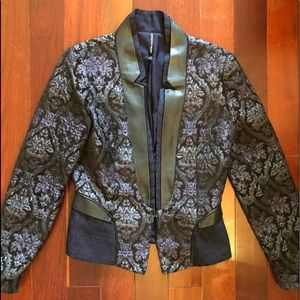 Beautiful navy brocade jacket with leather trim.